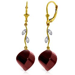 ALARRI 30.52 Carat 14K Solid Gold Diamond Spiral Ruby Earrings