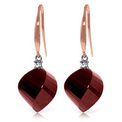 ALARRI 30.6 CTW 14K Solid Rose Gold Single Diamond Ruby Earrings