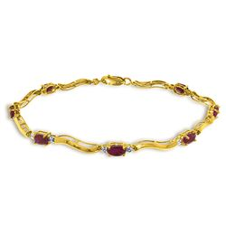 ALARRI 2.01 CTW 14K Solid Gold Tennis Bracelet Diamond Ruby