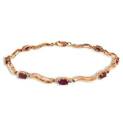 ALARRI 2.01 Carat 14K Solid Rose Gold Tennis Bracelet Diamond Ruby
