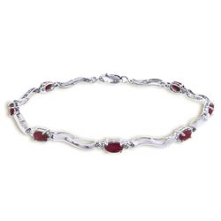 ALARRI 2.01 Carat 14K Solid White Gold Tennis Bracelet Diamond Ruby