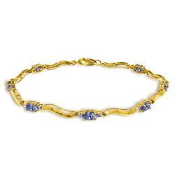 ALARRI 2.01 Carat 14K Solid Gold Tennis Bracelet Diamond Tanzanite