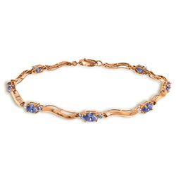 ALARRI 2.01 Carat 14K Solid Rose Gold Tennis Bracelet Diamond Tanzanite