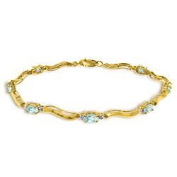 ALARRI 2.01 Carat 14K Solid Gold Tennis Bracelet Diamond Aquamarine