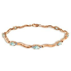 ALARRI 2.01 CTW 14K Solid Rose Gold Tennis Bracelet Diamond Aquamarine