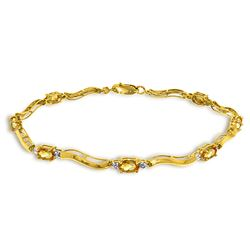ALARRI 2.01 Carat 14K Solid Gold Tennis Bracelet Diamond Citrine