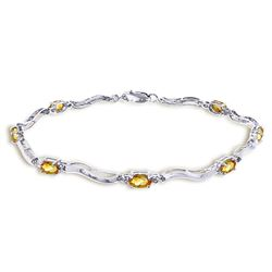 ALARRI 2.01 CTW 14K Solid White Gold Tennis Bracelet Diamond Citrine