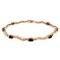 ALARRI 2.01 Carat 14K Solid Rose Gold Tennis Bracelet Diamond Garnet