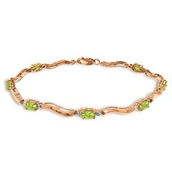 ALARRI 2.01 CTW 14K Solid Rose Gold Tennis Bracelet Diamond Peridot