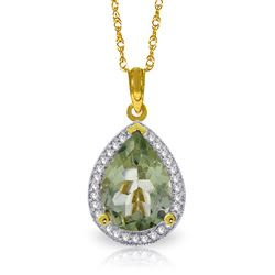 ALARRI 3.36 CTW 14K Solid Gold Lana Green Amethyst Diamond Necklace