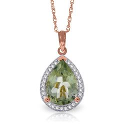 ALARRI 3.36 CTW 14K Solid Rose Gold Necklace Natural Diamond Green Amethyst