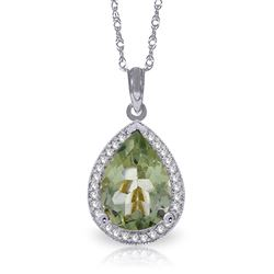 ALARRI 3.36 CTW 14K Solid White Gold Looks Kill Green Amethyst Diamond Necklace