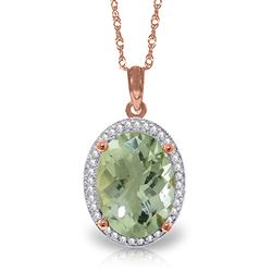 ALARRI 5.08 CTW 14K Solid Rose Gold Loren Green Amethyst Diamond Necklace