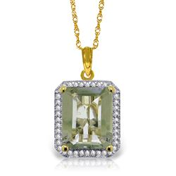 ALARRI 5.55 CTW 14K Solid Gold Isabella Green Amethystsyt Diamond Necklace