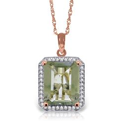 ALARRI 5.55 Carat 14K Solid Rose Gold Isabella Green Amethyst Diamond Necklace