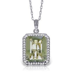 ALARRI 5.55 CTW 14K Solid White Gold Spice Of Life Green Amethyst Diamond Necklace