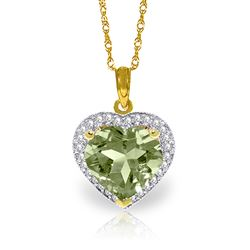 ALARRI 3.39 CTW 14K Solid Gold Elizabeth Green Amethystsyt Diamond Necklace