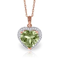 ALARRI 3.39 Carat 14K Solid Rose Gold Elizabeth Green Amethyst Diamond Necklace