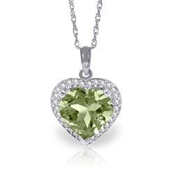 ALARRI 3.39 Carat 14K Solid White Gold Shall Overcome Green Amethyst Diamond Necklace