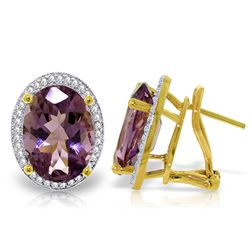 ALARRI 10.56 Carat 14K Solid Gold Loren Amethyst Diamond Earrings