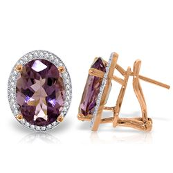 ALARRI 10.56 CTW 14K Solid Rose Gold Oval Amethyst Diamond Earrings