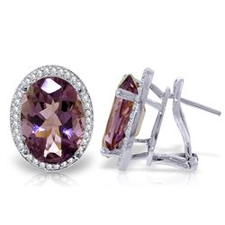 ALARRI 10.56 Carat 14K Solid White Gold Dance Me Amethyst Diamond Earrings