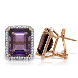 ALARRI 11.6 Carat 14K Solid Rose Gold Octagon Amethyst Diamond Earrings