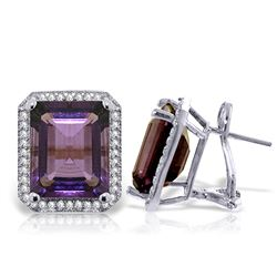 ALARRI 11.6 Carat 14K Solid White Gold Dance Gently Love Amethyst Diamond Ear