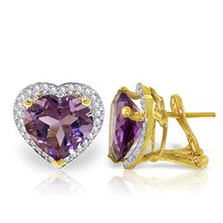 ALARRI 6.48 Carat 14K Solid Gold Elizabeth Amethyst Diamond Earrings