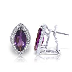 ALARRI 3.6 Carat 14K Solid White Gold Above All Else Amethyst Diamond Earrings