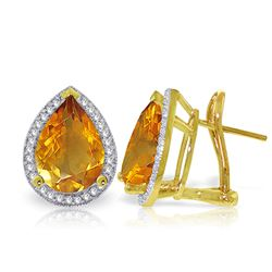 ALARRI 7.32 Carat 14K Solid Gold French Clips Earrings Diamond Citrine