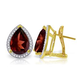 ALARRI 8.12 Carat 14K Solid Gold French Clips Earrings Diamond Garnet