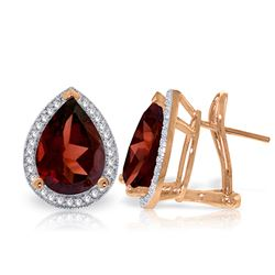 ALARRI 8.12 Carat 14K Solid Rose Gold French Clips Earrings Diamond Garnet