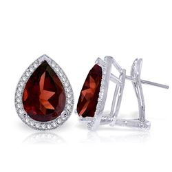 ALARRI 8.12 Carat 14K Solid White Gold French Clips Earrings Diamond Garnet