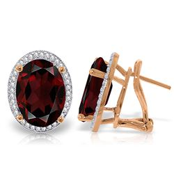 ALARRI 12.46 Carat 14K Solid Rose Gold Oval Garnet Diamond Earrings