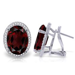 ALARRI 12.46 Carat 14K Solid White Gold Garnet Standard Garnet Diamond Earrings