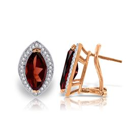ALARRI 4.3 CTW 14K Solid Rose Gold Marquis Garnet Diamond Earrings