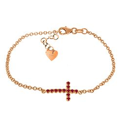 ALARRI 0.3 Carat 14K Solid Rose Gold Cross Bracelet Natural Ruby