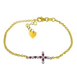ALARRI 0.24 Carat 14K Solid Gold Cross Bracelet Diamond Ruby