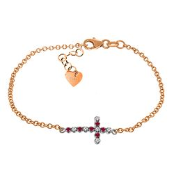 ALARRI 0.24 CTW 14K Solid Rose Gold Cross Bracelet Diamond Ruby