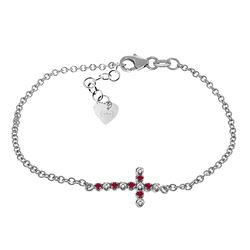 ALARRI 0.24 Carat 14K Solid White Gold Cross Bracelet Diamond Ruby