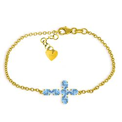 ALARRI 1.7 Carat 14K Solid Gold Cross Bracelet Natural Blue Topaz
