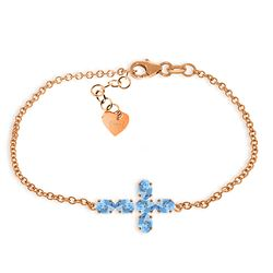 ALARRI 1.7 CTW 14K Solid Rose Gold Cross Bracelet Natural Blue Topaz