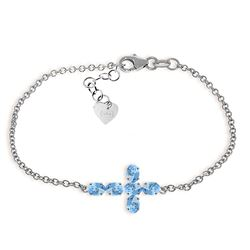 ALARRI 1.7 Carat 14K Solid White Gold Cross Bracelet Natural Blue Topaz