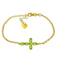 ALARRI 1.7 CTW 14K Solid Gold Cross Bracelet Natural Peridot