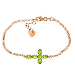ALARRI 1.7 CTW 14K Solid Rose Gold Cross Bracelet Natural Peridot