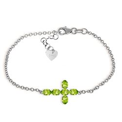 ALARRI 1.7 Carat 14K Solid White Gold Cross Bracelet Natural Peridot