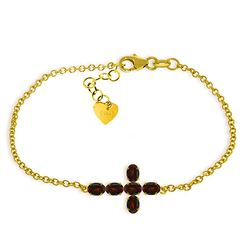 ALARRI 1.7 Carat 14K Solid Gold Cross Bracelet Natural Garnet