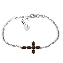ALARRI 1.7 Carat 14K Solid White Gold Cross Bracelet Natural Garnet