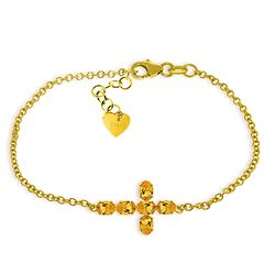 ALARRI 1.7 Carat 14K Solid Gold Cross Bracelet Natural Citrine
